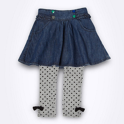 bluezoo - Girls blue denim skirt and grey spotted leggings