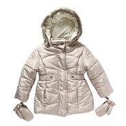 Girl's beige long padded coat
