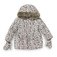 Girl's brown animal printed coat and mittens