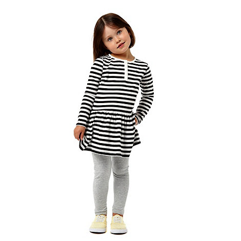 bluezoo - Girl+s white striped dress and leggings