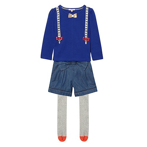 bluezoo - Girl+s blue braces top and shorts set
