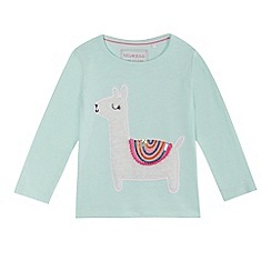 bluezoo - Girls' aqua llama applique top