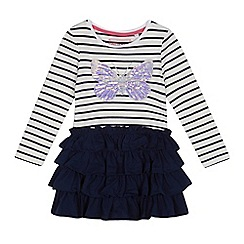 bluezoo - Girls' navy sequinned butterfly applique rara dress