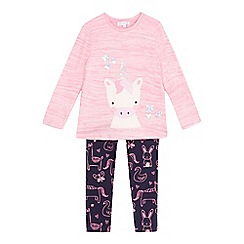 bluezoo - Girls' pink unicorn applique top and leggings set