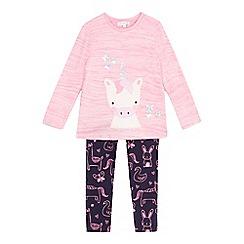bluezoo - Girls' pink unicorn applique top and leggings set
