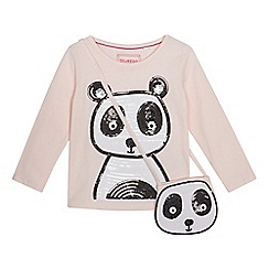 bluezoo - Girls' light pink sequin panda top with a bag
