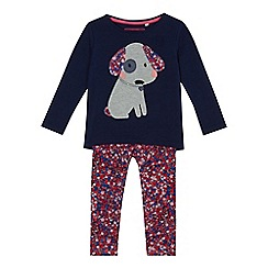 bluezoo - Girls' navy dog applique top and bottoms set
