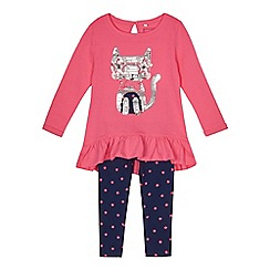 bluezoo - Girls' pink cat sequin top and leggings set