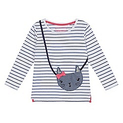 bluezoo - Girls' white applique bag long sleeve top