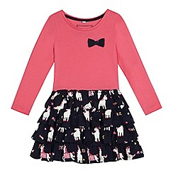 bluezoo - Girls' pink and navy unicorn print dress