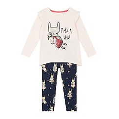 bluezoo - Girls' pink and navy cat fairy top and leggings set