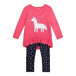 bluezoo - Girls' pink unicorn sequin top and leggings set