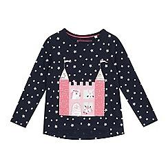 bluezoo - Girls' navy castle applique top