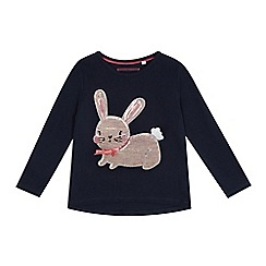 bluezoo - Girls' navy sequinned bunny top