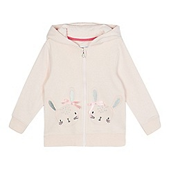 bluezoo - Girls' pink bunny applique zip through hoodie
