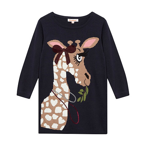 bluezoo - Girl+s navy knitted giraffe tunic