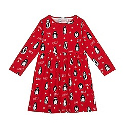 bluezoo - Girls' red penguin print dress