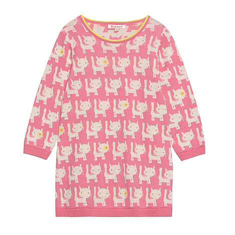 bluezoo - Girl's pink cat knitted dress