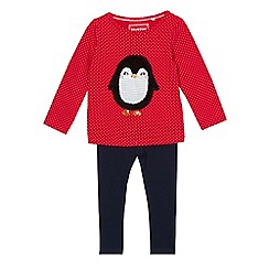 bluezoo - Girls' red sequinned penguin top and navy leggings set
