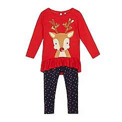 bluezoo - Girls' red reindeer applique top and leggings set