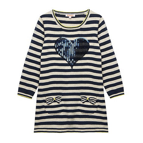bluezoo - Girl+s blue striped heart dress