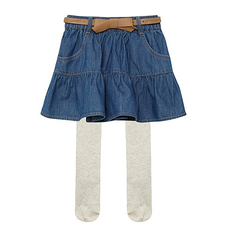 bluezoo - Girl+s blue denim skirt and tights set