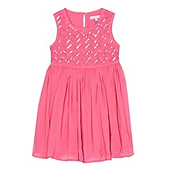 bluezoo - Girls' pink chevron sequinned embellished dress