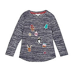 bluezoo - Girls' navy Christmas themed badge applique top