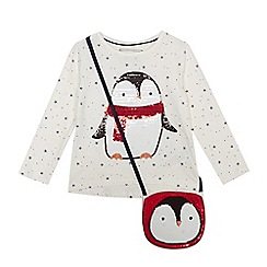 bluezoo - Girls' white sequin penguin top with a bag