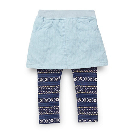 bluezoo - Girl's blue skirt and navy aztec printed leggings set