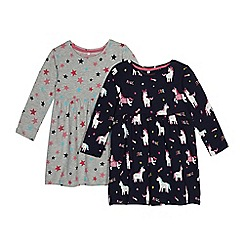 bluezoo - Pack of two girls' navy and grey unicorn and star print jersey dresses