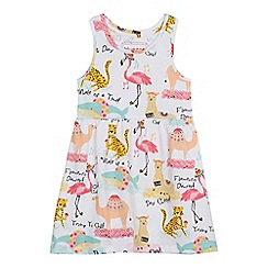 bluezoo - Girls' white animal print dress