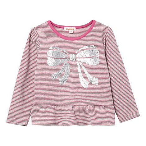 bluezoo - Girl+s grey striped sequin bow top