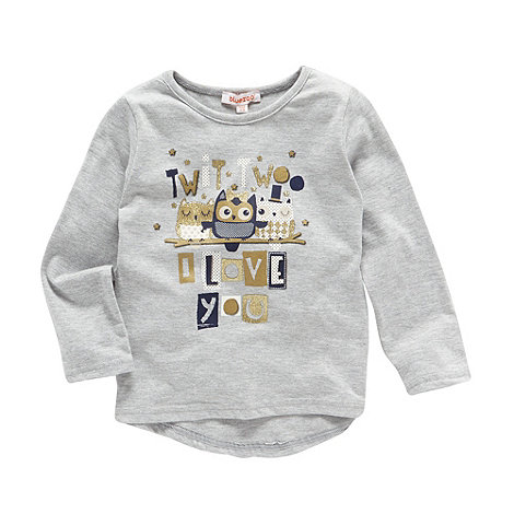 bluezoo - Girl's grey 'Twit Twoo' printed top