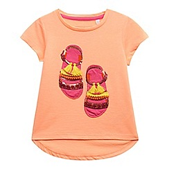 bluezoo - Girls' orange sandal applique t-shirt