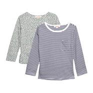 Girl's pack of two grey leopard and navy striped tops