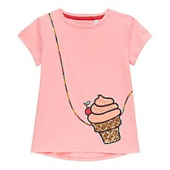 bluezoo - Girls' pink sequinned ice cream bag applique t-shirt