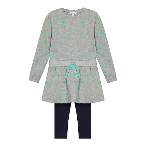 bluezoo - Girl+s grey star printed sweat dress and leggings set