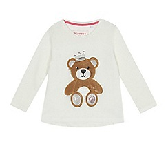 bluezoo - Girls' white teddy embroidered t-shirt
