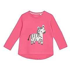 bluezoo - Girls' pink zebra applique top