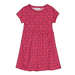 bluezoo - Girls' pink jersey cat print dress