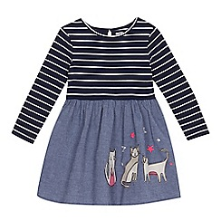 bluezoo - Girls' navy striped denim cat applique dress