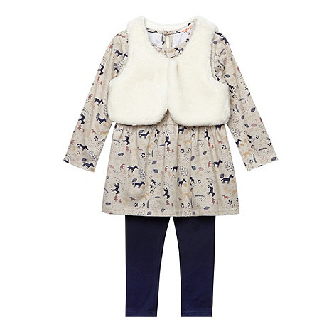 bluezoo - Girl+s cream gilet, tunic and leggings set