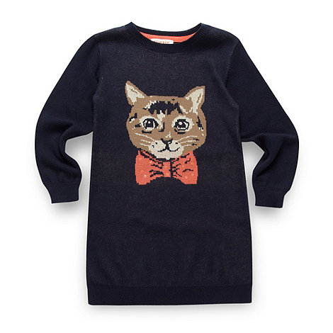 bluezoo - Girl's navy cat knit tunic