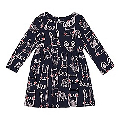bluezoo - Girls' navy bunny and cat print dress