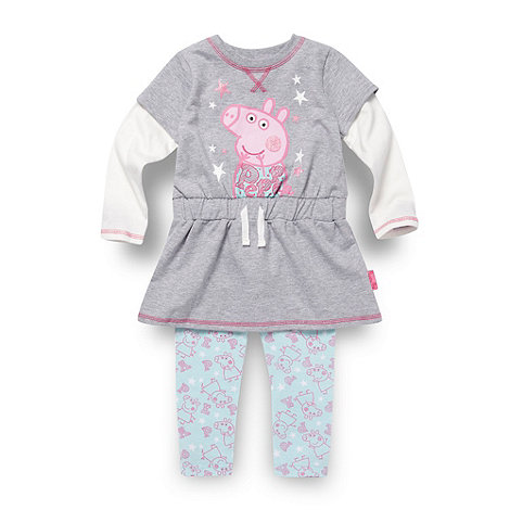 Peppa Pig - Girl+s grey +Peppa Pig+ sweat dress and leggings set