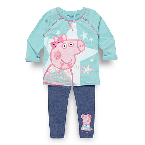 Peppa Pig - Girl+s aqua +Peppa Pig+ tunic and leggings set