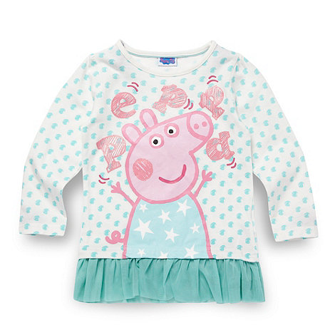 Peppa Pig - Girl+s white spotted +Peppa Pig+ top
