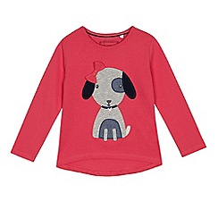 bluezoo - Girls' pink dog applique top