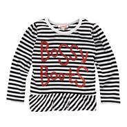 Girl's black striped 'Bossy Boots' top
